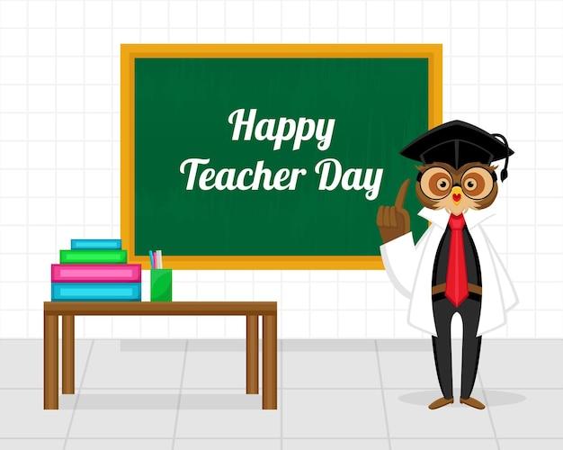 Felice giorno dell'insegnante concetto con illustrazione del gufo