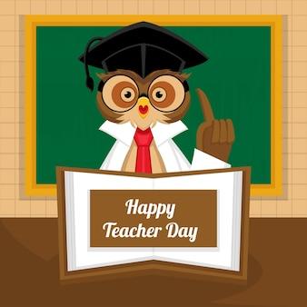 Concetto di giorno dell'insegnante felice con l'illustrazione del gufo del professore