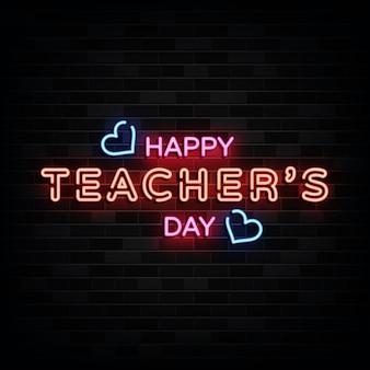 Insegne al neon di happy teacher day