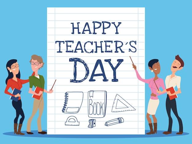 Felice giornata dell'insegnante con un gruppo di insegnanti di design