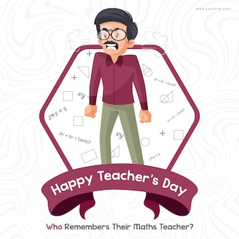 Felice giorno dell'insegnante banner design con insegnante di matematica