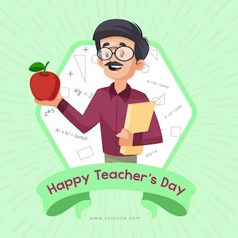 Felice giorno dell'insegnante banner design con insegnante che mostra apple in mano