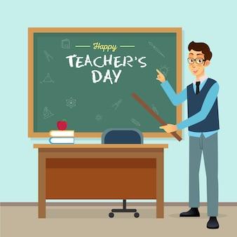 Illustrazione del fumetto di giorno dell'insegnante felice. adatto per biglietto di auguri, poster e banner