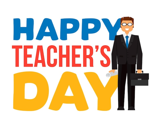 Banner di celebrazione del giorno dell'insegnante felice con testo. vettore