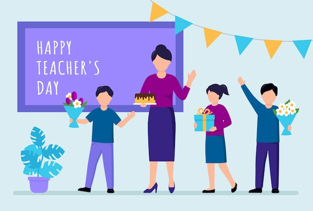 Illustrazione felice del concetto di giorno dell'insegnante. composizione vettoriale di un gruppo di caratteri di bambini studenti e insegnante di scuola tifo davanti alla lavagna con la scrittura. festive dintorni, fiori, bandiere.