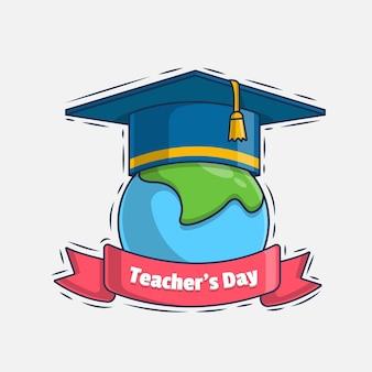 Illustrazione dell'icona di saluto del giorno dell'insegnante felice
