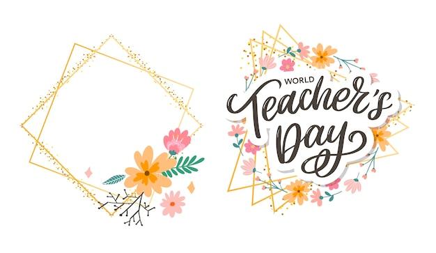 Iscrizione del giorno dell'insegnante felice. saluto lettere disegnate a mano.