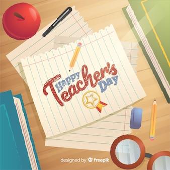 Iscrizione del giorno dell'insegnante felice sull'illustrazione di carta Vettore Premium