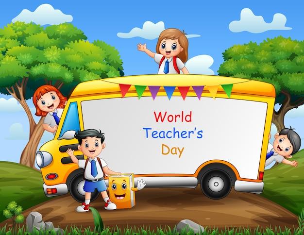 Happy teacher's day sul segno con felice studente