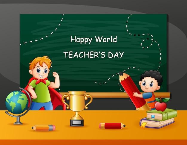Testo del giorno dell'insegnante felice sulla lavagna con i bambini