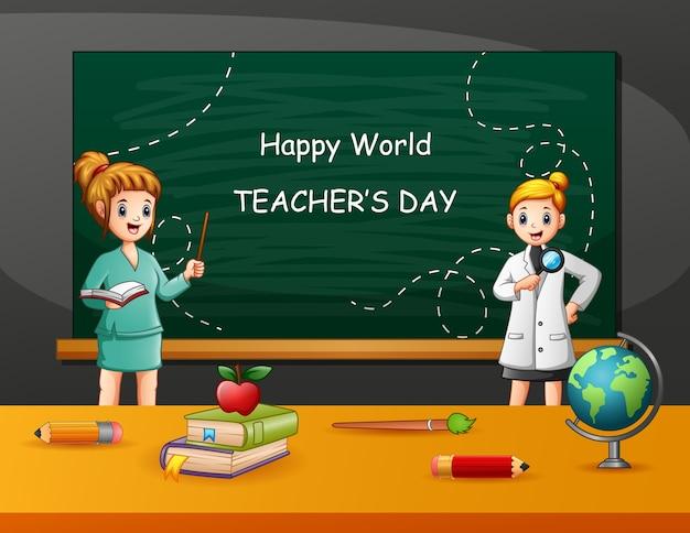Testo di happy teacher's day con insegnante donna e studente
