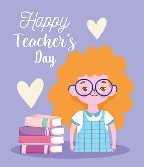 Felice giornata degli insegnanti, cartone animato ragazza bionda studentessa con i libri