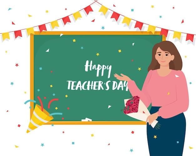 Carta di giorno felice degli insegnanti con l'insegnante femminile vicino all'illustrazione piana di vettore della lavagna