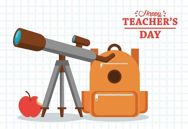 Carta di felice giornata degli insegnanti con zainetto e telescopio.
