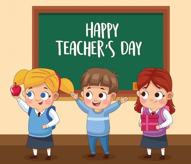 Scheda di giorno di insegnanti felici con gli studenti in classe