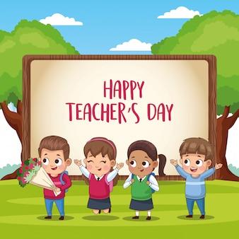 Scheda di giorno felice degli insegnanti con gli studenti nel campo