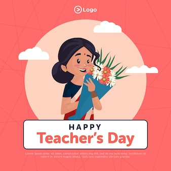 Modello di progettazione banner stile cartone animato felice giornata degli insegnanti