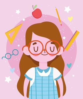 Buon giorno degli insegnanti, studentessa carina con cartone animato uniforme e scuola di forniture