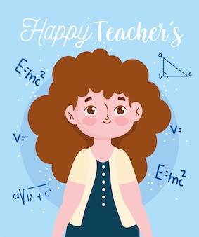 Felice giornata dell'insegnante, formula di equazione matematica insegnante femminile