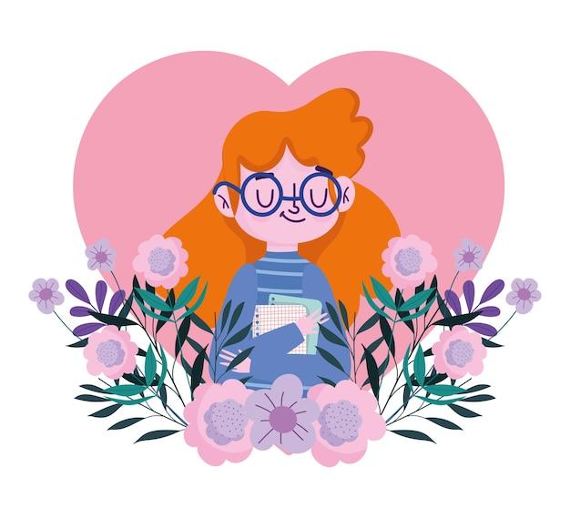 Felice giornata dell'insegnante, insegnante femminile con carte e decorazioni floreali nel cuore