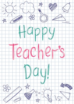 Cartolina d'auguri di happy teachers day sul foglio di quaderno quadrato in stile abbozzato con stelle e cuori disegnati a mano.