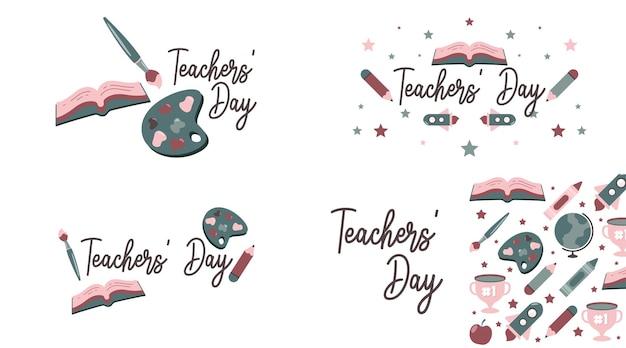 Vettore dell'illustrazione del giorno degli insegnanti felice con l'icona piana di colore morbido