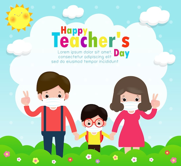 Manifesto del giorno dell'insegnante felice per il nuovo concetto di stile di vita normale. studenti felici i bambini e gli insegnanti che indossano la maschera per il viso proteggono il virus corona o covid 19 nella scuola isolata sull'illustrazione bianca del fondo