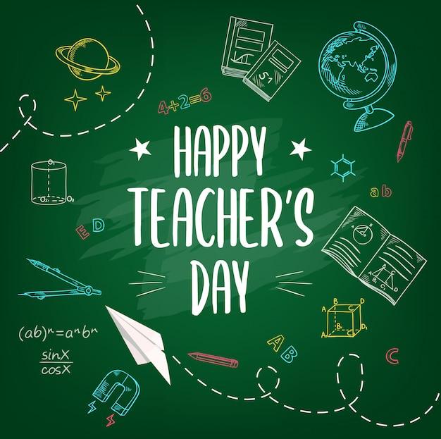 Felice giornata degli insegnanti, sfondo di schizzo di gesso di scuola Vettore Premium
