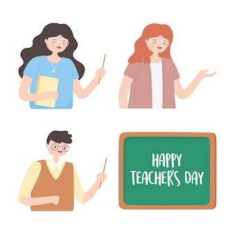 Felice giorno degli insegnanti, insegnante sorridente maschio femmina lavagna aula