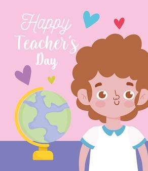 Buon giorno degli insegnanti, studente ragazzo e mappa del globo della scuola
