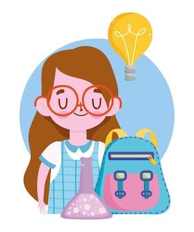 Felice giornata degli insegnanti, provetta di chimica dello zaino della ragazza dello studente