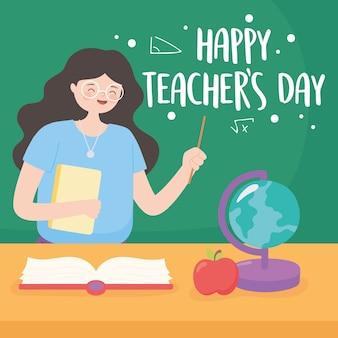 Felice giornata degli insegnanti, insegnante in aula con il libro della mappa della lavagna e la mela