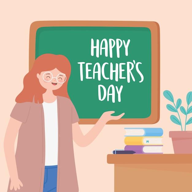Buon giorno dell'insegnante, libri e pianta della lavagna dello scrittorio di lezione dell'insegnante