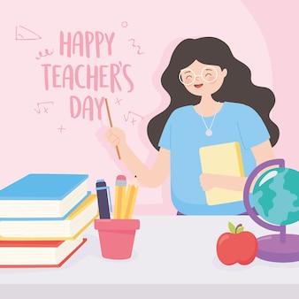 Buon giorno dell'insegnante, libri e matite della mela della mappa del globo della scuola dell'insegnante