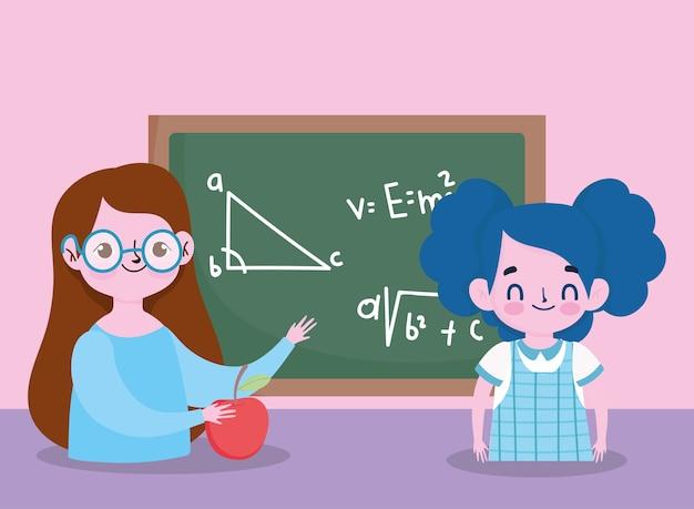 Felice giorno dell'insegnante, insegnante e studente ragazza lavagna e mela
