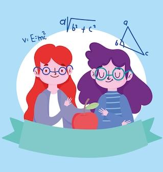 Felice giornata degli insegnanti, insegnante e studentessa con gli occhiali e la mela