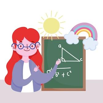 Buon giorno dell'insegnante, insegnante con lezione di aritmetica della lavagna