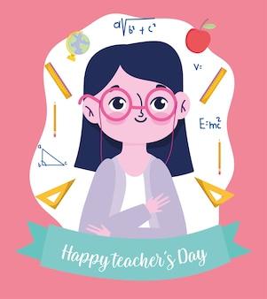 Felice giorno dell'insegnante, insegnante con gli occhiali e forniture scuola dei cartoni animati