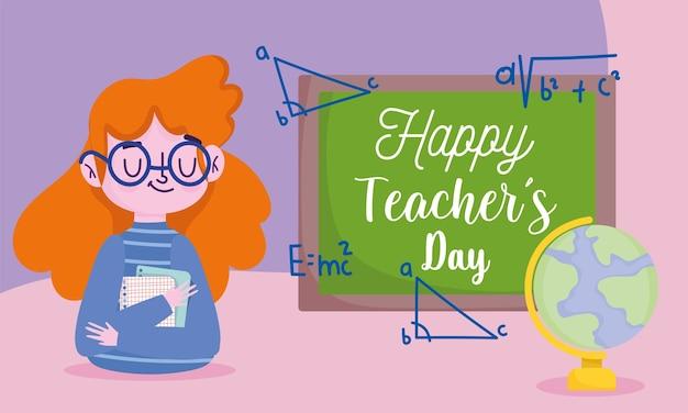 Buon giorno dell'insegnante, insegnante con mappa del mondo e lavagna