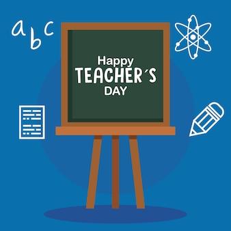 Felice giornata degli insegnanti, con icone di lavagna e istruzione