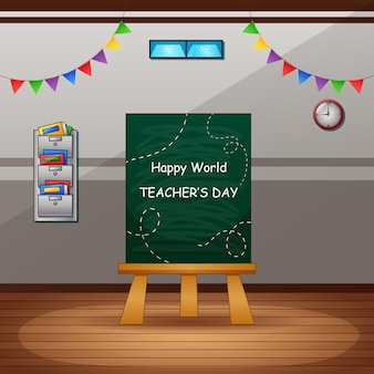 Happy teachers day con lavagna verde in aula