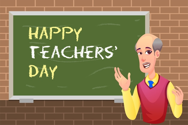 Felice giornata degli insegnanti con insegnante uomo e lavagna