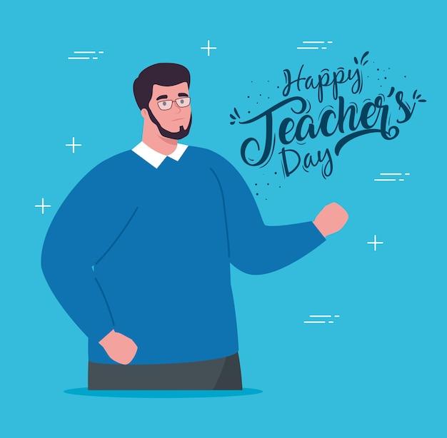 Felice giornata degli insegnanti, con insegnante uomo e sfondo blu