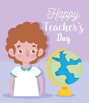 Buon giorno dell'insegnante, giovane studente e globo scolastico