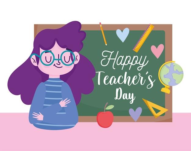 Buon giorno dell'insegnante, giovane insegnante femminile blackoboard e materiale scolastico