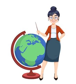 Buona giornata di techer. simpatico personaggio dei cartoni animati di insegnante femminile in piedi con un grande globo durante la lezione di geografia. illustrazione vettoriale d'archivio.