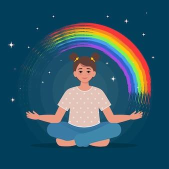 Ragazza teenager felice che tiene un arcobaleno in mano la salute mentale dei bambini flat vector illustration