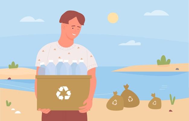 Felice adolescente volontario che pulisce la spiaggia che raccoglie il riciclaggio della spazzatura che tiene la scatola dei rifiuti