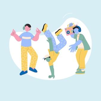 Carattere di adolescenti felici, adolescenti che ballano