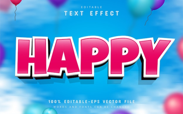Testo felice, effetto di testo modificabile in stile cartone animato